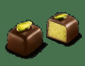 Pisztácia marcipános étcsokoládé bonbon